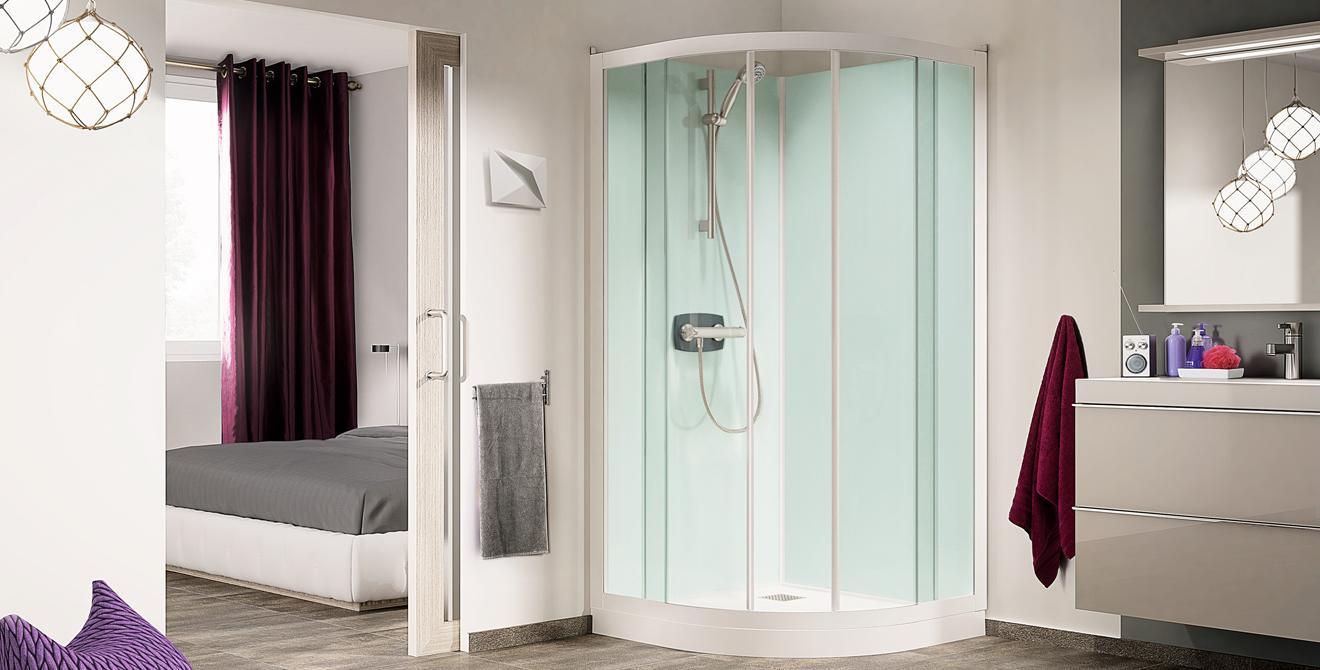 Kleines Bad Mit Der Kompakten Duschkabine KINEPRIME Als Viertelkreiskabine  Mit 80 Oder 90 Cm. Foto